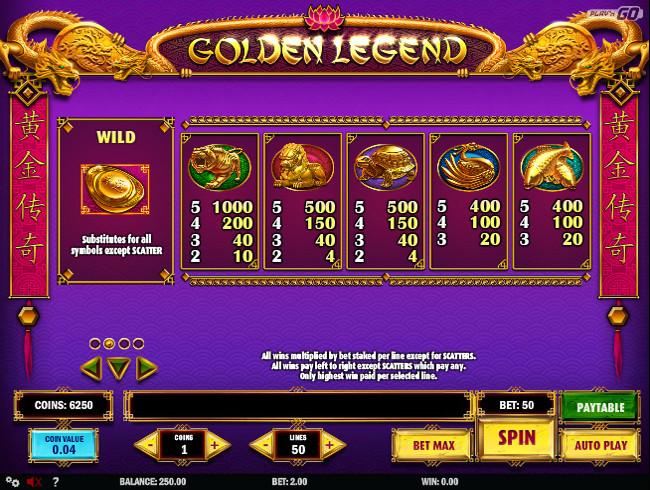 golden legend oriental paytable