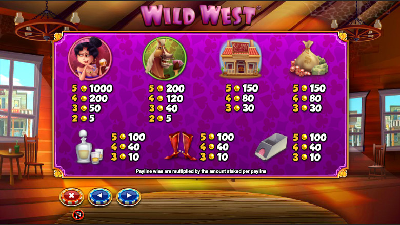 wild west paytable